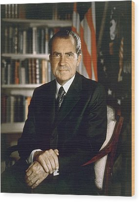 President Richard Nixon In An Official Wood Print by Everett