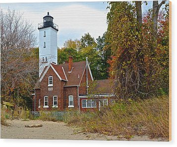 Presque Isle Lighthouse Wood Print by Frozen in Time Fine Art Photography