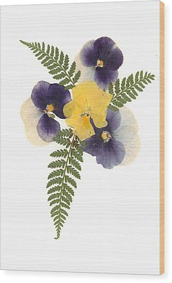 Pressed Pansies Wood Print by Christine Lathrop