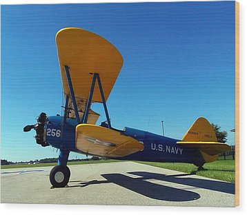 Wood Print featuring the photograph Preston Aviation Stearman 001 by Chris Mercer