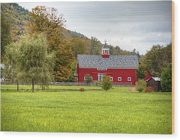 Prettiest Barn In Vermont Wood Print