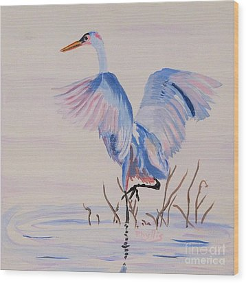 Wood Print featuring the painting Pretty Crane by Phyllis Kaltenbach