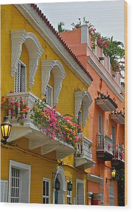 Pretty Dwellings In Old-town Cartagena Wood Print by Kirsten Giving