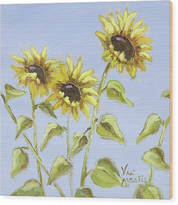 Wood Print featuring the painting Pretty In Yellow by Vic  Mastis
