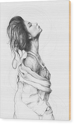 Pretty Lady Wood Print by Olga Shvartsur