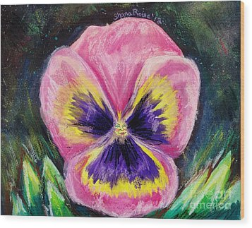 Pretty Pink Pansy Person Wood Print by Shana Rowe Jackson
