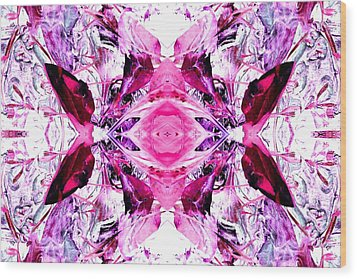 Pretty Pink Weeds Abstract  3 Wood Print by Marianne Dow