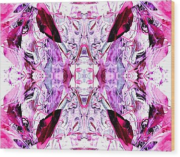 Pretty Pink Weeds Abstract  4 Wood Print by Marianne Dow