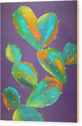 Prickly Pear Abstract Wood Print by Karyn Robinson
