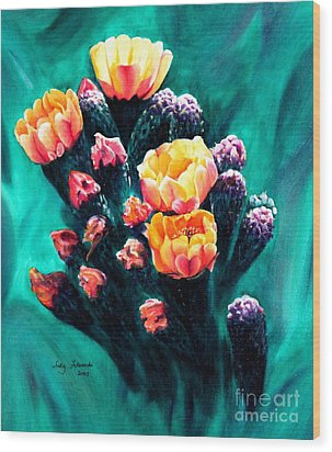 Wood Print featuring the painting Prickly Pear Cactus Painting by Judy Filarecki