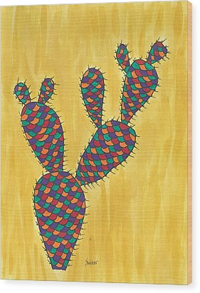 Wood Print featuring the painting Prickly Pear Cactus Paradise by Susie Weber