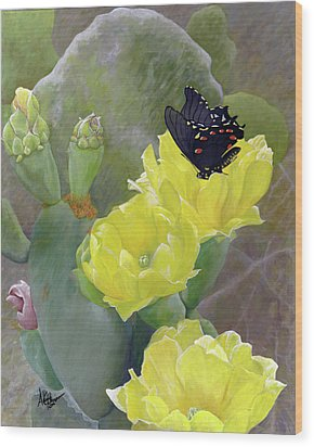 Prickly Pear Flower Wood Print