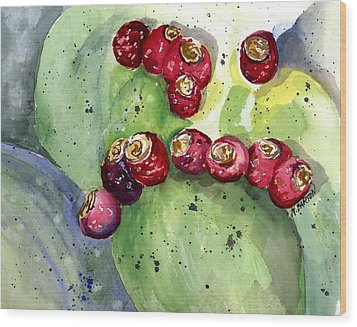Prickly Pear Fruit Wood Print by Marilyn Barton