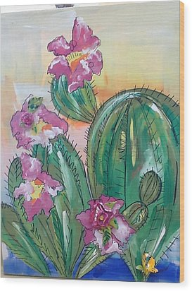 Prickly Pear Wood Print by Karen Carnow