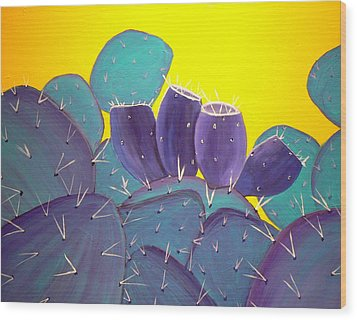 Prickly Pear With Fruit Wood Print by Karyn Robinson