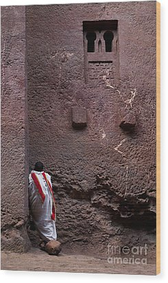 Priest Praying Outside Church In Lalibela Ethiopia Wood Print
