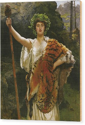 Priestess Bacchus Wood Print by John Collier