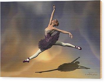 Prima Ballerina Georgia Grand Jete Pose Wood Print by Andre Price