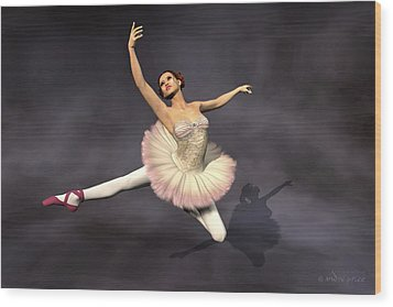 Prima Ballerina Heaven Jete Leap Pose Wood Print by Andre Price