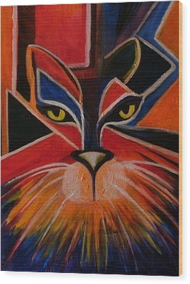 Primary Cat Wood Print by Carolyn LeGrand