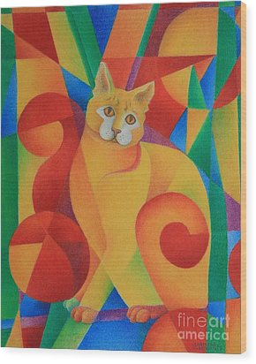 Primary Cat II Wood Print by Pamela Clements