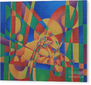 Primary Cat IIi Wood Print by Pamela Clements