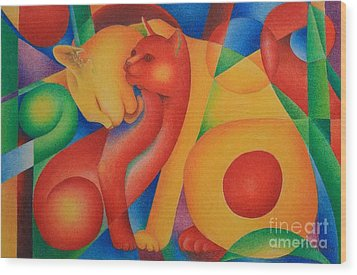 Primary Cats Wood Print by Pamela Clements