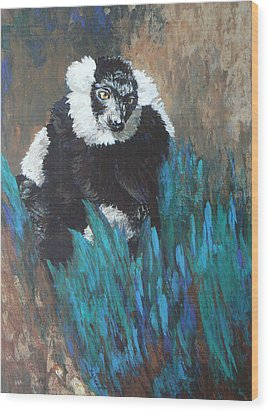 Wood Print featuring the painting Primate Of The Madagascan Rainforest by Margaret Saheed