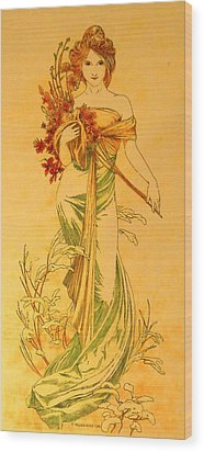 Primavera After Mucha Wood Print