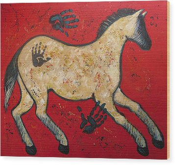 Primitive Modern Cave Art Horse Wood Print by Carol Suzanne Niebuhr