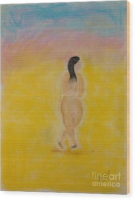 Primitive Woman Walking Wood Print by Robyn Louisell