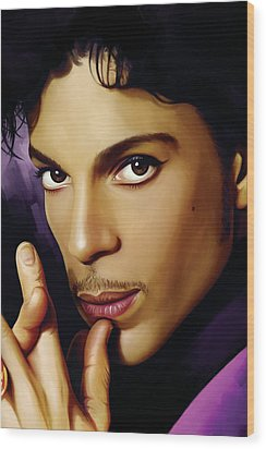 Prince Artwork Wood Print by Sheraz A
