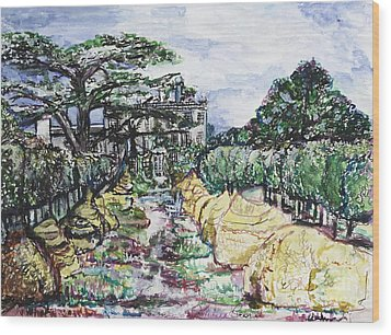 Wood Print featuring the painting Prince Charles Gardens by Helena Bebirian
