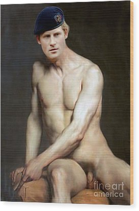 Prince Harry  Seated Nude Wood Print by Karine Percheron-Daniels