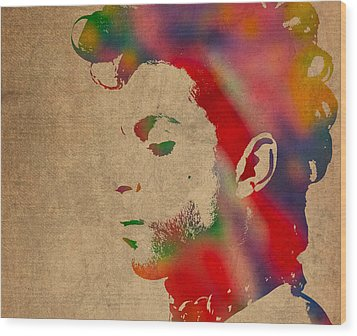 Prince Watercolor Portrait On Worn Distressed Canvas Wood Print by Design Turnpike