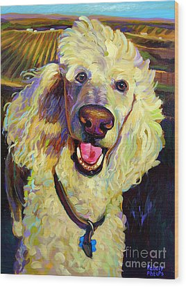 Wood Print featuring the painting Princely Poodle by Robert Phelps