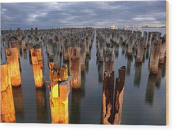 Princes Pier Wood Print by Damian Morphou