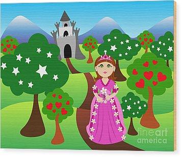 Princess And Castle Landscape Wood Print by Sylvie Bouchard