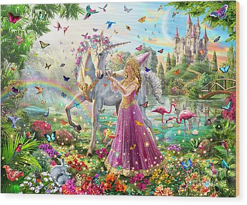 Princess And The Unicorn Wood Print by Adrian Chesterman