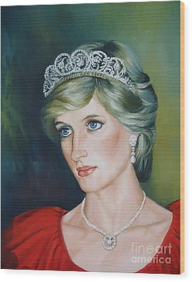 Princess Diana Wood Print by Elena Oleniuc