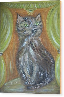 Wood Print featuring the painting Princess Kitty by Teresa White