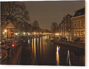 Prinsengracht Canal After Dark Wood Print