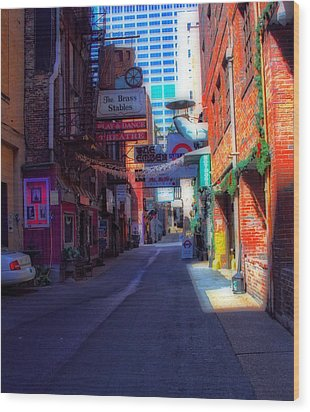 Printers Alley Nashville Tennessee Wood Print by Dan Sproul