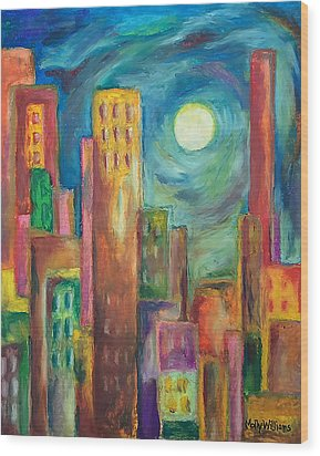 Prismatic Cityscape Wood Print by Molly Williams