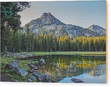 Pristine Alpine Lake Wood Print by Robert Bales