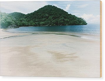 Private Beach Wood Print