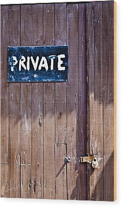 Wood Print featuring the photograph 'private' by David Isaacson