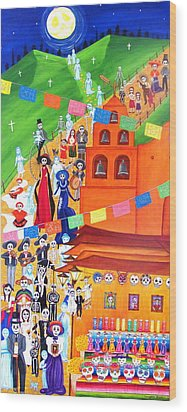 Wood Print featuring the painting Procession by Evangelina Portillo