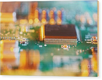 Processor Chip On Circuit Board Wood Print by Konstantin Sutyagin