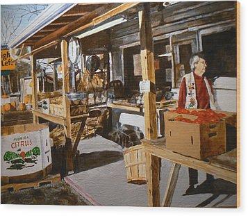 Produce Market Wood Print by Thomas Akers